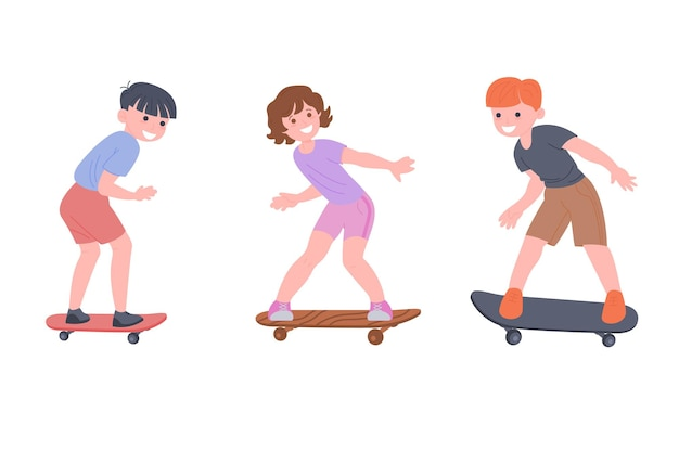 Bambini felici cavalcano uno skateboard, giocano a giochi sportivi. i ragazzi e la ragazza stanno facendo esercizi fisici. infanzia attiva e sana. cartoon piatto illustrazione vettoriale isolato su sfondo bianco.