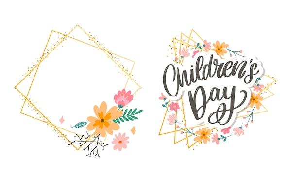 Buona festa dei bambini, simpatico biglietto di auguri con lettere divertenti in stile scandinavo e paesaggio dei cartoni animati