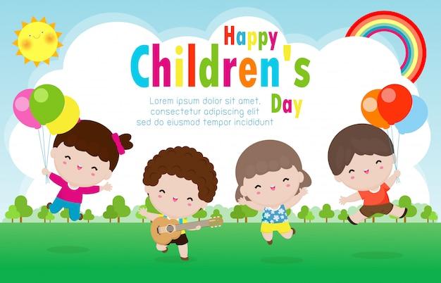 Manifesto del giorno dei bambini felici con progettazione felice del giorno dei bambini dell'illustrazione del fondo della cartolina d'auguri dei bambini felici
