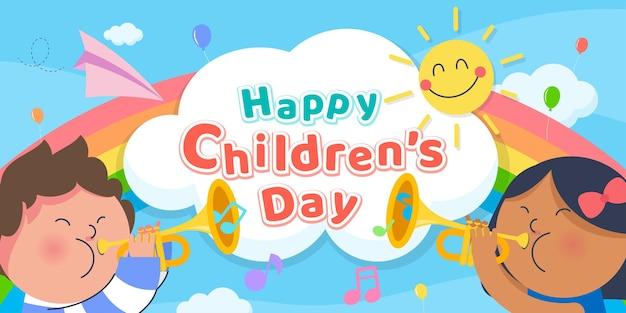 Giornata dei bambini felici con i bambini che giocano a tromba banner Vettore Premium