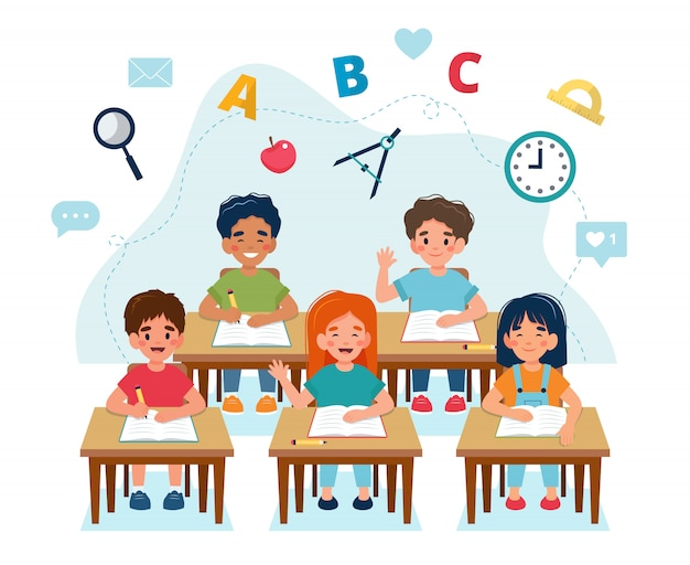 Bambini felici seduti in classe ai banchi, di nuovo al concetto di scuola, simpatici personaggi.
