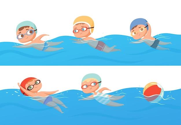 Bambini felici sport acquatici in piscina insieme di raccolta corsi di nuoto estivi.