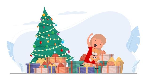 Bambini felici con doni. bambini felici, scatole regalo, albero di natale. isolato. vettore.