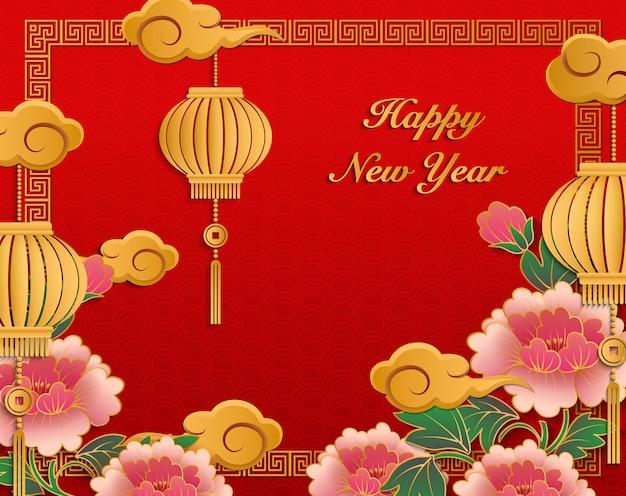 Felice anno nuovo cinese 2019 lanterna fiore di peonia in rilievo in oro retrò e cornice a traliccio