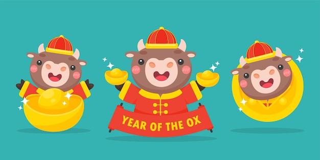 Felice anno nuovo cinese 2021 mucca del fumetto che tiene segno rosso di saluto nel nuovo anno