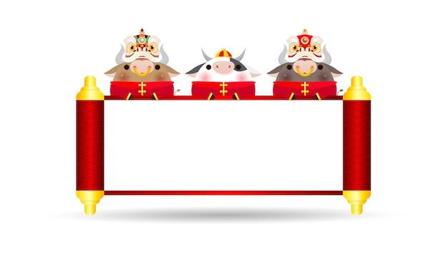 Felice anno nuovo cinese 2021 del poster design dello zodiaco del bue con bue, petardo e danza del leone con pergamena cinese. l'anno del biglietto di auguri bue isolato su sfondo, traduzione felice anno nuovo.