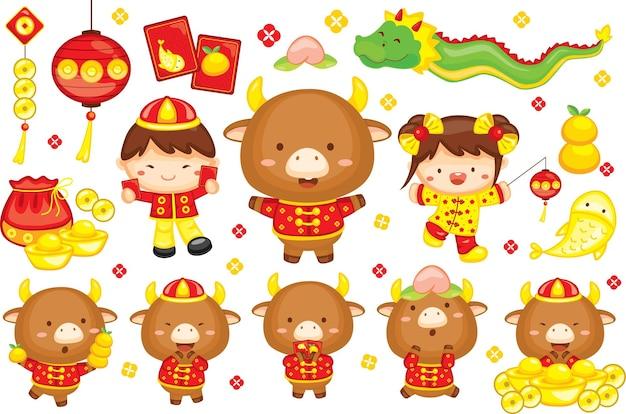 Felice anno nuovo cinese 2021 l'anno del bue con elementi