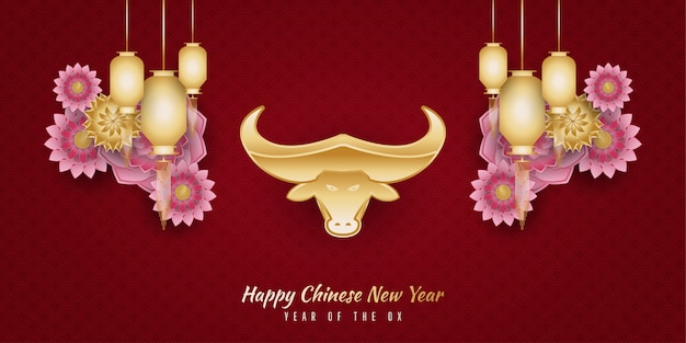 Felice anno nuovo cinese banner con bue dorato e lanterne e ornamenti floreali colorati