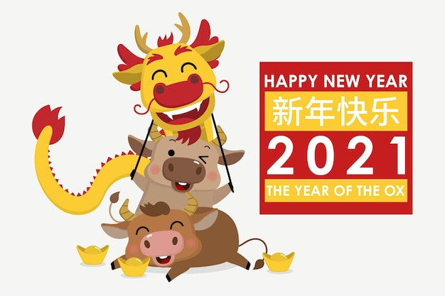 Cartolina d'auguri di felice anno nuovo cinese. zodiaco del bue. mucca carina e danza del drago d'oro.