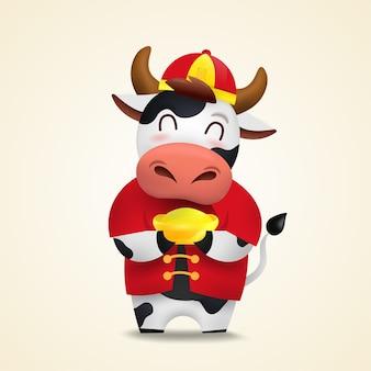 Felice anno nuovo cinese zodiaco del bue. simpatico personaggio di mucca in costume rosso.