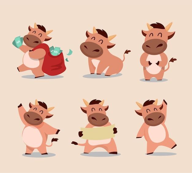 Felice anno nuovo cinese zodiaco del bue. set di caratteri di mucca carina.