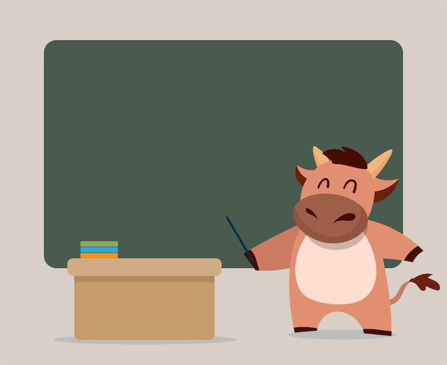Felice anno nuovo cinese zodiaco del bue. simpatico personaggio di mucca insegnante.