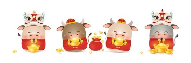 Felice anno nuovo cinese del bue. simbolo dello zodiaco dell'anno 2021. saluto di design del personaggio di bue simpatico cartone animato