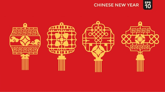 Felice anno nuovo cinese di stile di taglio della carta, oro, soldi, telaio reticolare