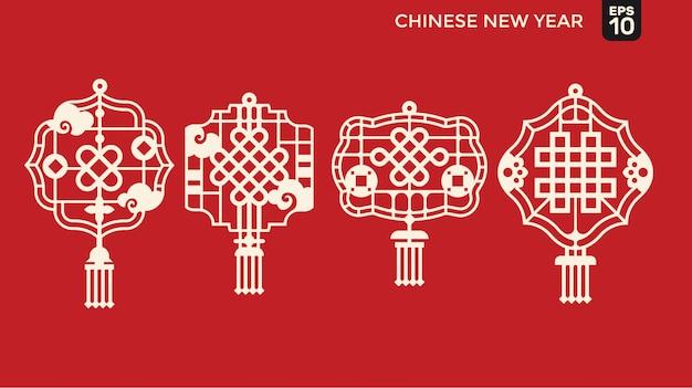 Felice anno nuovo cinese di stile di taglio della carta, telaio reticolare con benedizione e simbolo di prosperità
