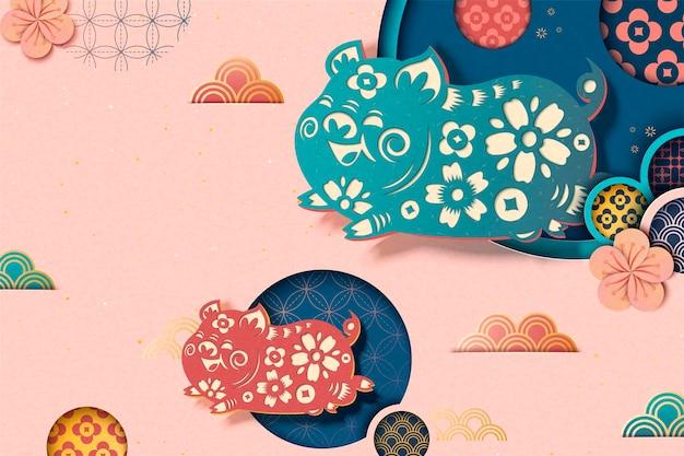 Felice anno nuovo cinese in stile sfondo rosa con maialino volante e motivo floreale in stile arte carta