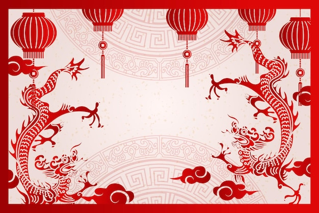 Felice anno nuovo cinese tradizionale cornice drago lanterna e nuvola
