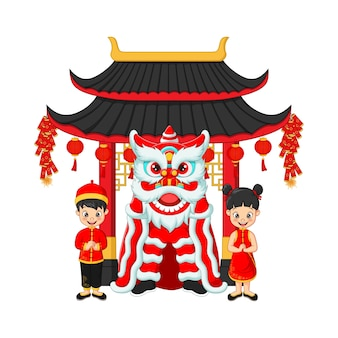 Felice anno nuovo cinese con bambini e danza del leone cinese