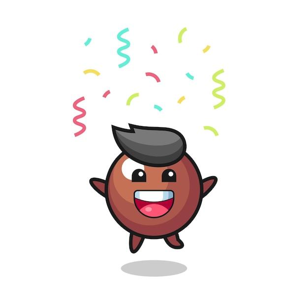Felice mascotte palla di cioccolato che salta per congratulazioni con coriandoli colorati, design in stile carino per maglietta, adesivo, elemento logo
