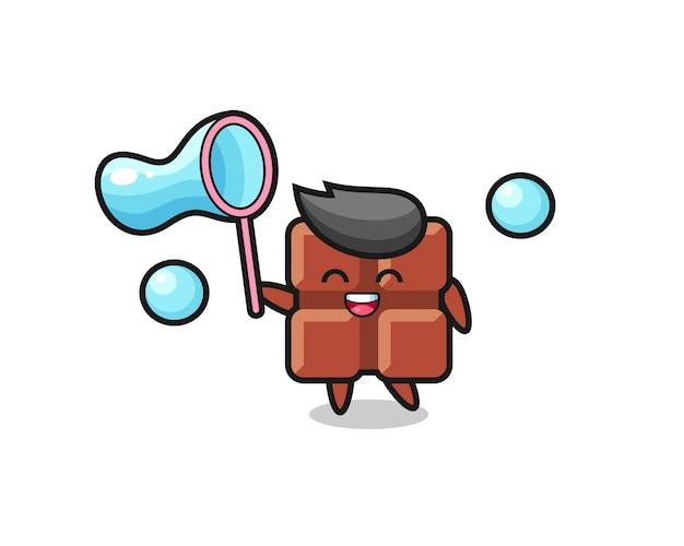Cartone animato felice barretta di cioccolato che gioca bolla di sapone, design in stile carino per t-shirt, adesivo, elemento logo
