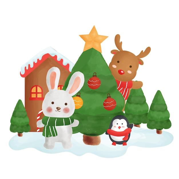 Cartolina di natale felice con un coniglio e amici nella città della neve ..