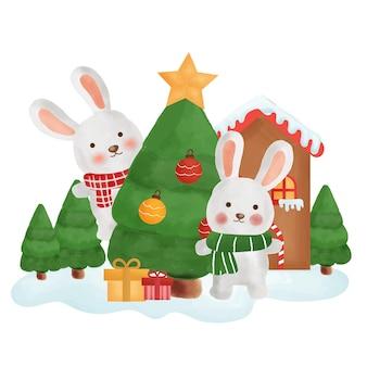 Cartolina di natale felice con i conigli nella città della neve.