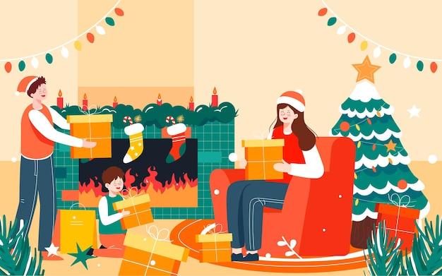 Buon natale illustrazione della famiglia vigilia di natale che decora il poster dell'albero di natale