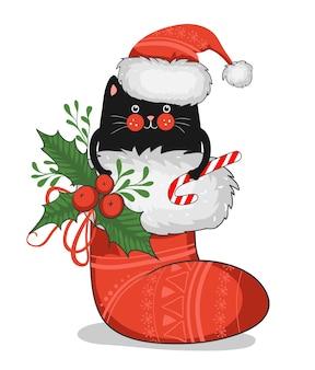 Biglietto di auguri di buon natale, striscione, poster con gatto nero