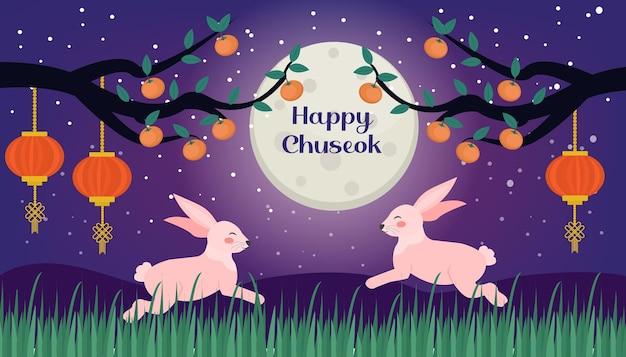 Happy chuseok, biglietto del festival di metà autunno, modello di poster per il tuo design. ramo di albero di cachi e simpatici conigli sullo sfondo della luna, festa coreana del ringraziamento e del raccolto. illustrazione vettoriale.