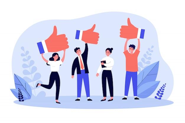 Clienti felici che danno un feedback positivo sulla qualità del prodotto