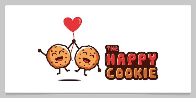 Biscotti felici biscotti che volano con palloncini a forma di cuore personaggio dei cartoni animati illustrazione
