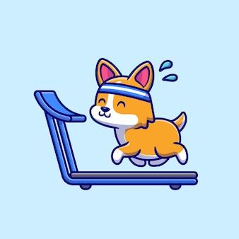 Felice corgi in esecuzione sul tapis roulant cartoon icona vettore illustrazione.