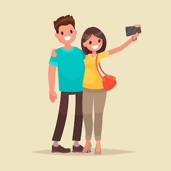 Le coppie felici stanno prendendo selfie. l'uomo e la donna vengono fotografati insieme. in uno stile piatto