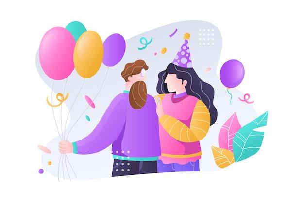 Coppia felice che celebra la festa di compleanno con illustrazione di palloncini