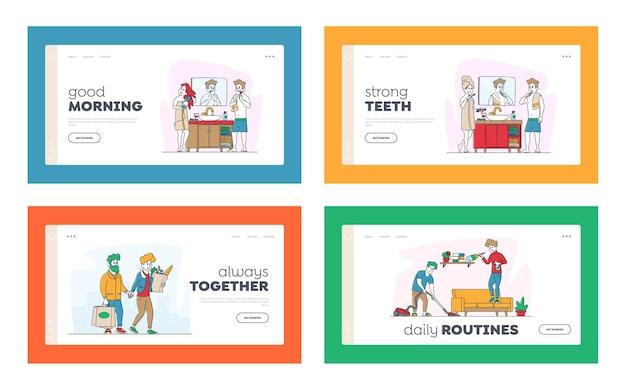 Insieme di modelli di pagina di destinazione di questioni di routine quotidiana dei caratteri delle coppie felici.