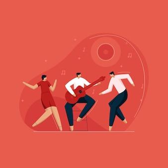 Coppia felice che balla al bar con un chitarrista che si diverte a ballare insieme godendosi la festa notturna