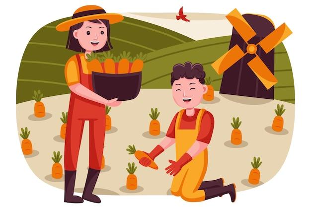 Coppia felice agricoltore raccolto carote alla piccola fattoria.