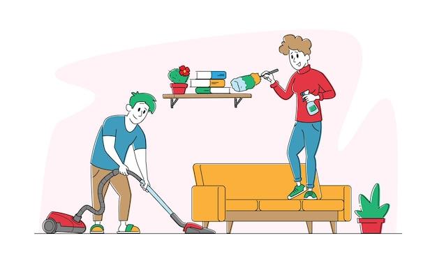 Doveri compiti a casa coppia felice o attività quotidiana
