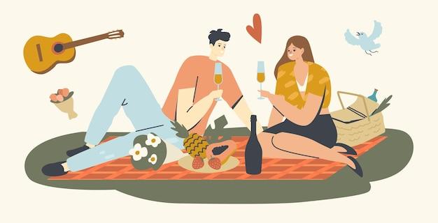 Coppia felice di personaggi maschili e femminili che si incontrano all'aperto durante un picnic, bevendo champagne