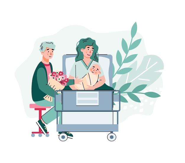 Coppia felice in ospedale di maternità dopo la nascita del bambino, fumetto piatto