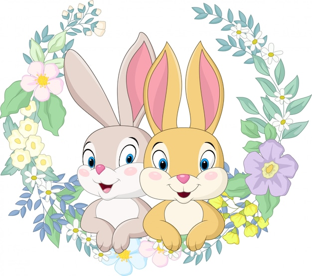 Coniglio felice delle coppie con il fondo dei fiori