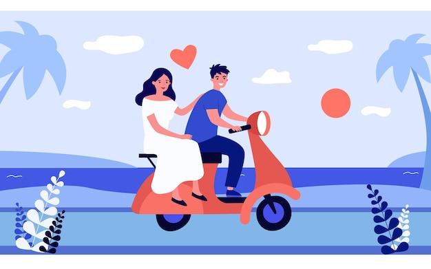 Coppia felice in sella a una moto lungo il mare. illustrazione vettoriale piatto. donna in abito bianco e uomo innamorato, che viaggiano insieme, godendosi il tramonto dal mare. romanticismo, viaggio, amore, concetto di viaggio di nozze