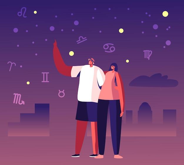Le coppie felici trascorrono del tempo insieme, l'uomo che abbraccia la ragazza dalla vita che punta con il dito sul cielo notturno che mostra la stella cadente e le costellazioni dello zodiaco. cartoon illustrazione piatta