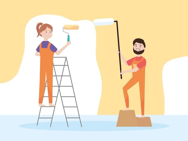 Coppia felice con rulli di vernice e rimodellamento dell'illustrazione della parete di colore giallo