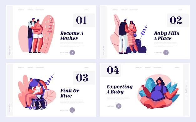 Insieme di modelli di pagina di destinazione del sito web del bambino in attesa di coppie felici.