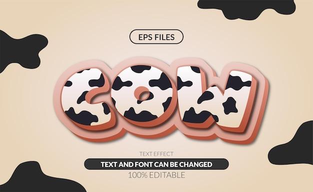 Effetto testo modificabile modello fattoria mucca felice.