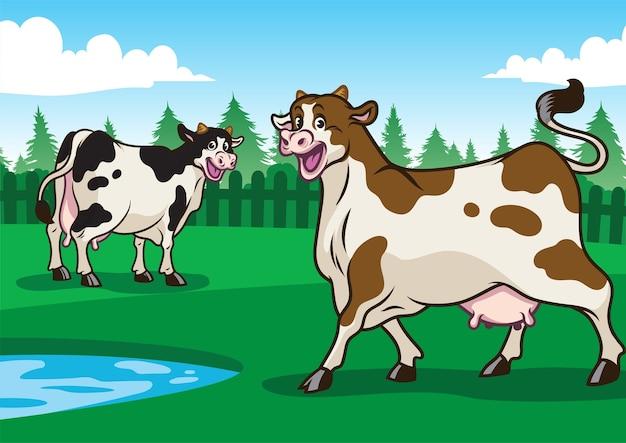 Illustrazione felice della mucca nel campo