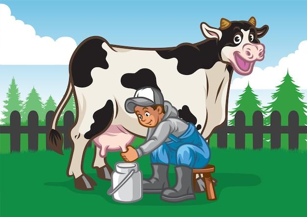 Illustrazione di mucca felice mentre il contadino munge