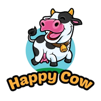 Modello mascotte logo mucca felice