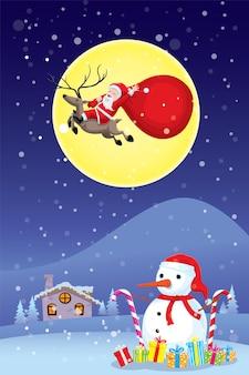 Happy cristmasday babbo natale in sella a un cervo per volare sul cielo e ha una luna piena